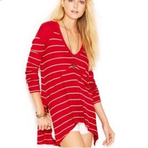 Free people sunset park striped thermal top